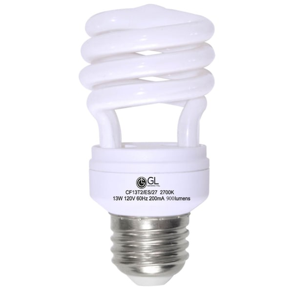 Goodlite G-10839 13-W CFL 60 Watt Replacement 900-Lumen T2 Spiral, 15,000 hour Warm White 2700k 25-pack 10507034