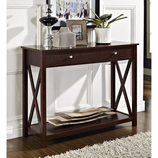 Espresso 'X' Design Two-drawer Console/ Sofa Table
