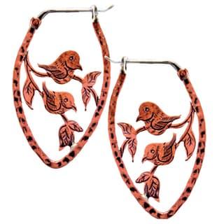 Copper Lovebird Earrings (Nepal)