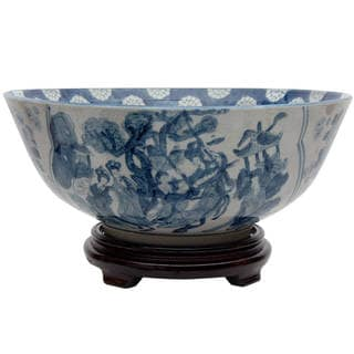 "Handmade 14"" Blue and White Ladies Porcelain Bowl"