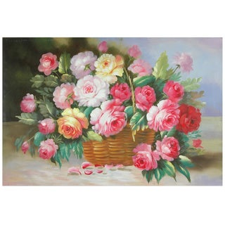Hand Painted Basket of Peonies Canvas (China)