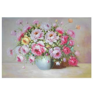Hand Painted Peonies on Display Canvas (China)