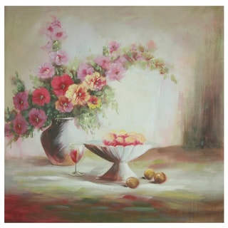 Hand Painted Evening Peaches and Flowers Canvas (China)