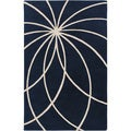 Hand-tufted Beersel Dark Blue Floral Wool Rug (8' x 11')