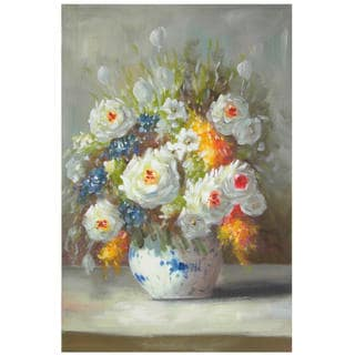 Hand Painted Peonies on a Sunlit Sill Canvas Painting (China)