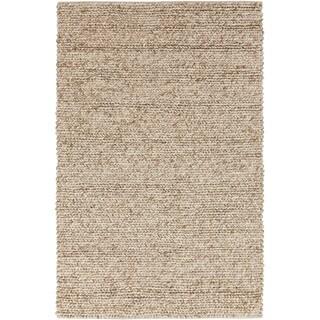 Hand-woven Seward Beige Solid Causal Wool Rug (3'3 x 5'3)