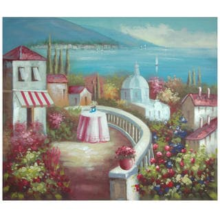 Hand Painted Riviera Cafe for Two Canvas (China)