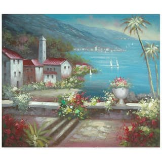 Hand Painted 'Steeple by the Riviera' Canvas Painting (China)