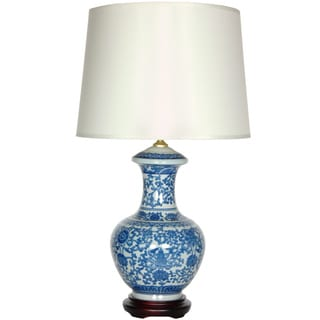 Blue and White Porcelain Round Vase Lamp (China)