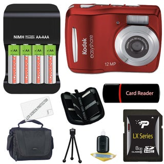 Kodak EasyShare C1505 12MP Red Digital Camera with 8GB Bundle