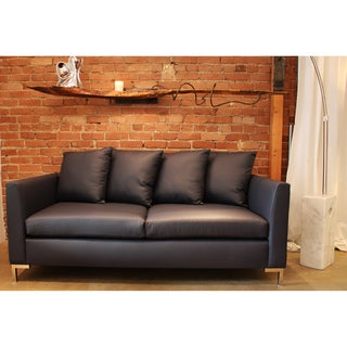 Decenni Custom Furniture 'Divina' Atlantic Blue Austrian Leather Sofa
