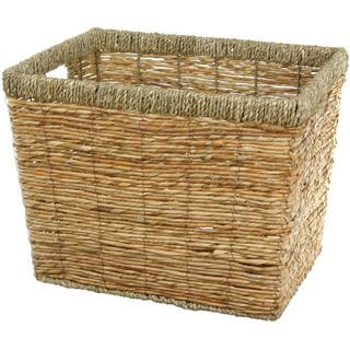 Handwoven Natural Rush Grass Storage Bin Set (China)