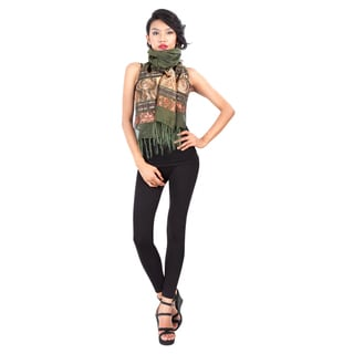 Elegant Olive Green Silk Assorted Scarf (Indonesia)