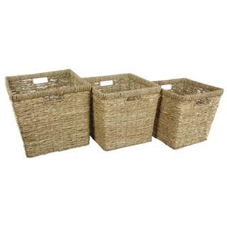 Hand Woven Rush Grass Basket Bin Set (China)