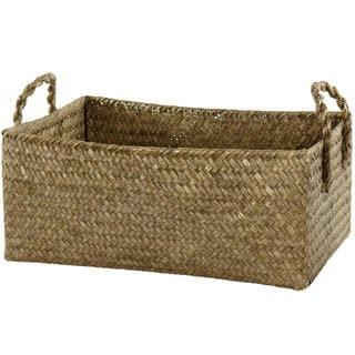 Hand Plaited Basket Bin with Handles Set (China)