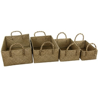 Hand Plaited Basket Bin with Handles Set (China)