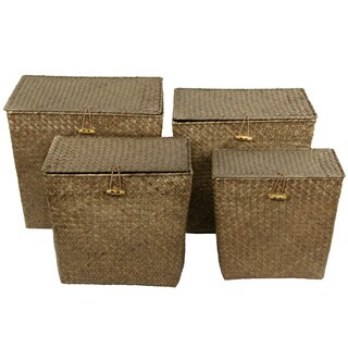Hand Woven Rush Grass Storage Tote Set (China)