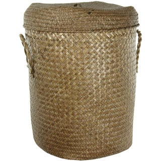 Hand Plaited Rush Grass Laundry Hamper Set (China)