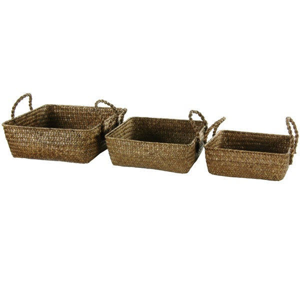 Hand Plaited Basket Tray with Handles Set (China)