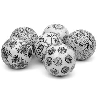Set of 6 Black and White Decorative 3-inch Porcelain Ball (China)