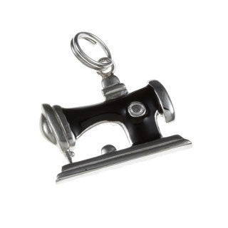La Preciosa Sterling Silver Black Enamel Sewing Machine Charm