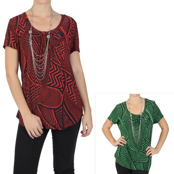 Journee Collection Women's Contemporary Plus Short-sleeve Print Shirt
