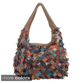 Journee Collection Women's Fringed Basketweave Leather Hobo Bag