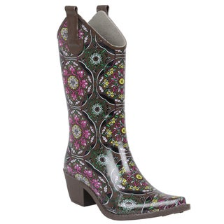 Journee Collection Women's Floral Print Cowboy Rainboots
