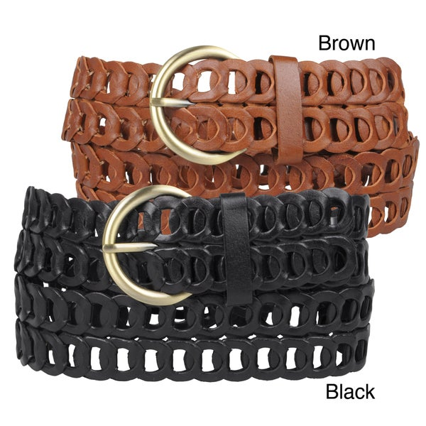 Journee Collection Women's Double Row Leather Belt