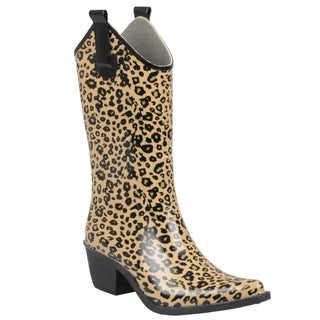 Journee Collection Women's Leopard Print Cowboy Rainboots