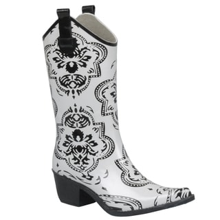 Journee Collection Women's Medallion Print Cowboy Rainboots