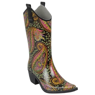Journee Collection Women's Paisley Print Cowboy Rainboots
