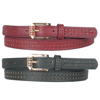 Journee Collection Women's Topstitched Pinhole Detail Belt