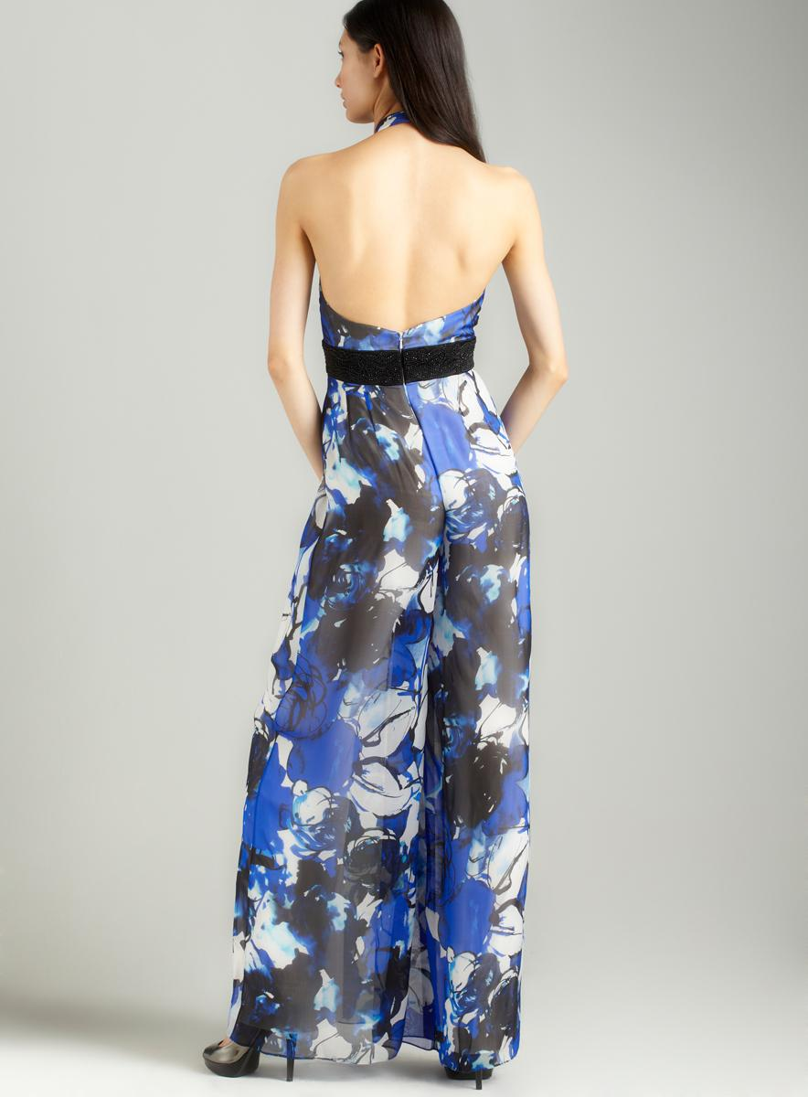 Carmen Marc Valvo Printed beaded waist jumpsuit