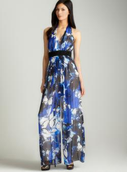 Carmen Marc Valvo Printed beaded waist jumpsuit