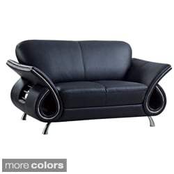 Global USA Furniture Leather Match Loveseat