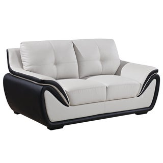 Grey/ Black Bonded Leather Loveseat