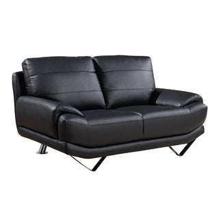 Plush Black Bonded-Leather Loveseat