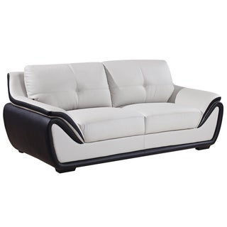 Grey/ Black Bonded Leather Sofa