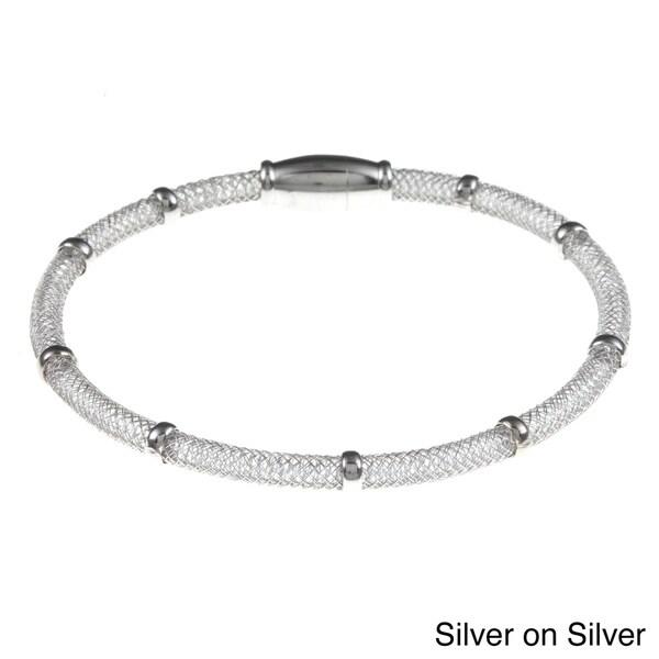 La Preciosa Sterling Silver Mesh Magnetic Clasp Bracelet
