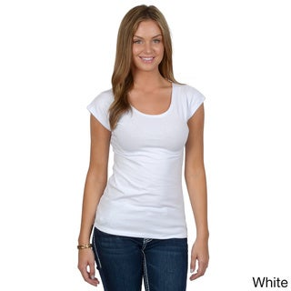 Fashion Corner Women's Crew-Neck Layering Cap Sleeve Tee