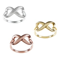 La Preciosa Sterling Silver Heart Design Infinity Ring