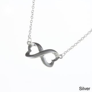 La Preciosa Sterling Silver Heart Design Infinity Necklace