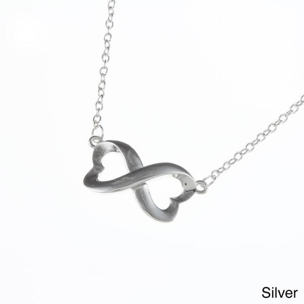 La Preciosa Sterling Silver Heart Design Infinity Necklace