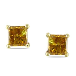 Miadora 14k Yellow Gold 1ct TDW Brown Diamond Earrings
