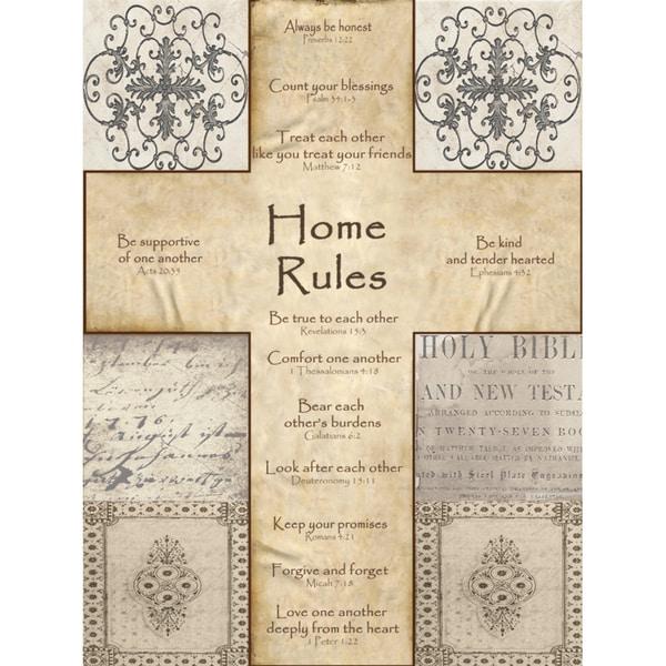 Home Rules Cross Paper Print (Unframed)