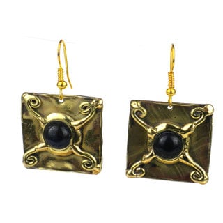 Handcrafted X Squared Onyx Earrings (South Africa)