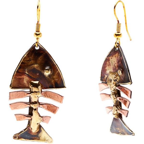 Handcrafted Fishbone Brass Earrings (South Africa)