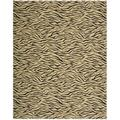 Cosmopolitan Beige Tiger Print Wool Rug (7&#39;6 x 9&#39;6)