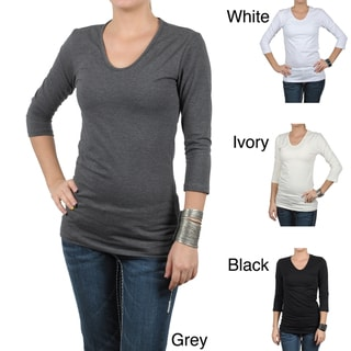 Fashion Corner Women's Layering Three-quarter Sleeve Tee